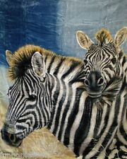 "Signature Collection Soft Plush Queen TWO ZEBRA ZEBRAS Faux Mink Blanket 79""x95"""