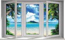 Sticker fenêtre trompe l'oeil Maldives 70x43cm F26