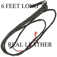 BRAND NEW 6' LEATHER BULL WHIP ,HORSE WHIP, CATTLE WHIP, ETC. FREE SHIPPING