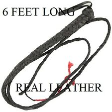 2 Brand New 6' Leather Bull Whips ,Horse Whips, Cattle Whips, Etc. Free Shipping