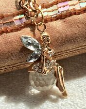 GOLD TONE CHAIN FACETED BALL WITH TINKERBELL FAIRY CRYSTAL PENDANT  NECKLACE