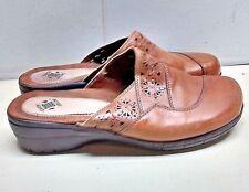 Earth Origins Janie Women Leather Brown Mule Slip On Casual Walking Shoes 10M