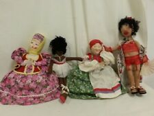 "16"" to 19 inch lot of 4 Vintage Cloth Dolls Ballerina Flapper + custom handmade"