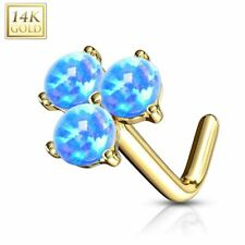 Carat Three Opals Blue Piercing Nose Yellow Gold 14