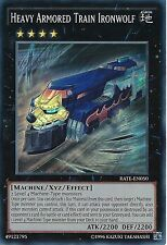 YU-GI-OH CARD: HEAVY ARMORED TRAIN IRONWOLF - SUPER RARE - RATE-EN050