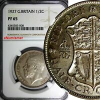 GREAT BRITAIN George V Silver PROOF 1927 1/2 Crown NGC PF65 Mintage-15,000 KM835
