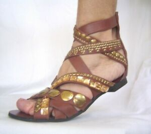 New BEBE Shoes CHARLA Leather BROWN Gold Gladiator Sandals Shoes 5 6 7 8 9