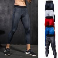 Men's Compression Leggings 3/4 Running Bottoms Basketball Training Spandex Pants