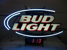 New listing Bud Light Oval 27 Inch Neon Light With Led Clock Electric Bar Sign