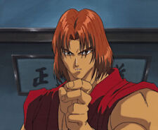 Street Fighter II V Anime Production Cel Ken in Red-Gi Background Rare! A1 1995
