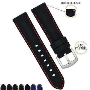 22mm Quick Release Silicone Replacement Watch Band Strap Fits Seiko Cal.7S26