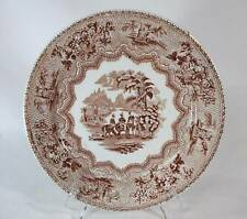 THOMAS HUGHES STAFFORDSHIRE BROWN TRANSFERWARE MILITARY SKETCHES PAT. PLATE