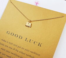 Lucky Elephant Pendant Necklace with Good Luck Card 18K Gold Plated Free USA