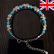 New Tibetan Silver Turquoise Elephant Blue Charm Bracelet Bangle Jewellery UK