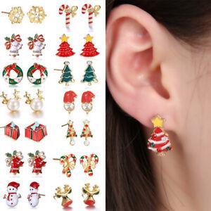 Christmas Santa Claus Ear Stud Xmas Earring Women Elk Alloy Fashion Cute Cartoon
