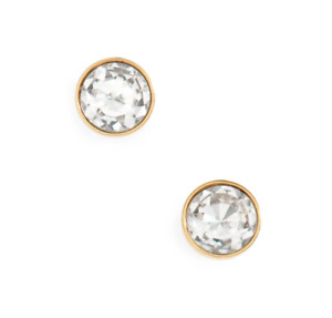 Kate Spade New York Reflecting Pool Mini Round Stud Earrings, Rose Gold / Clear