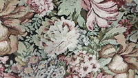 Home Decor Heavy Upholstery Floral Brown Green Red Fabric by the Yard