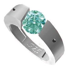 1.40 ct VS1/WHITE SKY BLUE REAL MOISSANITE-NATURAL BLACK DIAMOND.925 SILVER RING