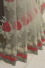 Bollywood Pearl Work Net Designer Saree White Indian Sari Bridal Party Dress