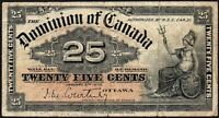 1900 Dominion of Canada 25 Cents Banknote * F+ * P-9a *