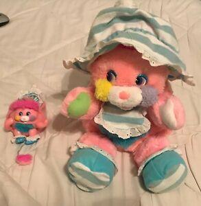 "Vintage Mattel Popples Lot 8"" & Mini Baby Cribsy - Pink"