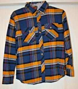 Volcom Boy's Dermot Long Sleeve Flannel Shirt, Blue/Yellow, Boys Size Large