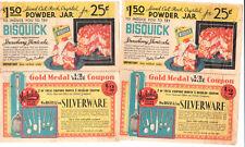 4 Vintage Wm Rogers Silverware - Rock Crystal Powder Jar Coupons1935 BISQUICK