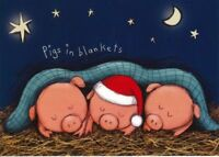 Charity Christmas Card Air Ambulance Service PIGS IN BLANKETS Envelopes 10 Pack