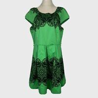 Caroline Morgan Womens Green/Black Cap Sleeve Fit Flare Dress Size 14
