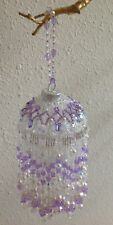 Fringed Ornament in Lavender, White and Clear - Handmade with Swarovski Elements