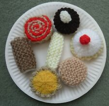 ASSORTMENT HAND MADE KNITTED CAKES TOY PLAY FOOD, ROLE PLAY, EYFS, KS1