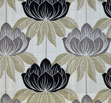 5 Meters Roma Curtain & Blinds Fabric £16.5/Mtr - Black Motif on Cream Base
