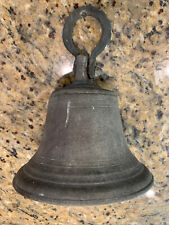 """Antique Brass Large Bell With Mounting Device Heavy 7"""" Diameter"""
