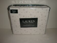 Ralph Lauren Snowflake Full Sheet Set Nip Gray White Winter Snowflakes Cotton