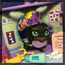Littlest Pet Shop #325 Black Dachshund Puppy Dog w/ Accessories Shopkins BLEMISH
