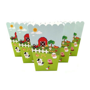6pcs Farm Animals Theme Birthday Party Decoration Popcorn Box for Kids Party