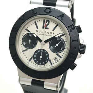 BVLGARI AC38TA aluminum Chronograph Date Men's Wristwatch Aluminum/rubber belt
