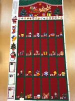 Christmas Red Fold-Pocket Advent Calendar Panel 100% Cotton