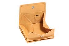 Wiener-Schachtel Ausweis-Format große Kleingeldschütte LEAS, Echt-Leder, beige