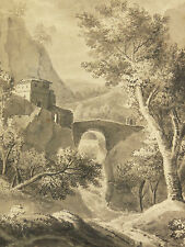 Louis Auguste GERARD(1783-1862)dessin ancien 1839  MONTAGNE mountain Cambridge