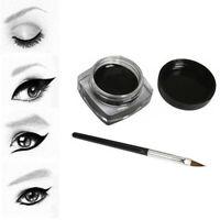 Waterproof Eye Liner Eyeliner Shadow Gel Makeup Cosmetic + Brush Black ONE SET