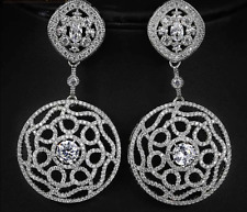 Sparkly 18K White Gold Filled Chandelier Zircon Fashion Earrings Bridal Jewelry