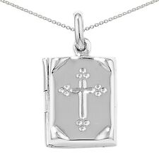 NEW Sterling Silver Cross Design Bible Locket and Chain Jewellery