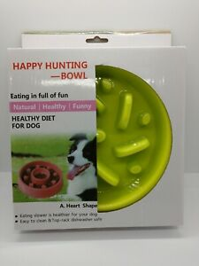 Happy Hunting Feeder Bowl For Dogs Stop Bloat Slow Feeding Round Lime green