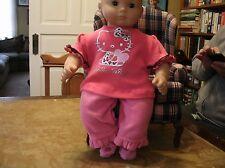 Handmade Bitty Baby Girl Hello Kitty tee/pink fleece ruffle bot pants/socks A264