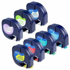 7pk Dymo Letra Tag Refills Plastic 12mm Label Tape 91330 91331 16952 91332 91333