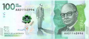 Colombie 100000 Pesos C. Lleras Restrepo - 2014 (2016)