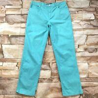 Gloria Vanderbilt Womens Jeans size 14 Turquoise Blue Straight Cotton Stretch