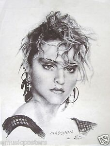 """MADONNA """"CHARCOAL DRAWING OF A YOUNG 80's VIRGIN"""" POSTER - Holiday, Borderline"""