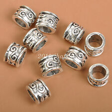 40pcs Tibetan Silver bead Charm big hole Spacer Beads  8x7MM  B3541